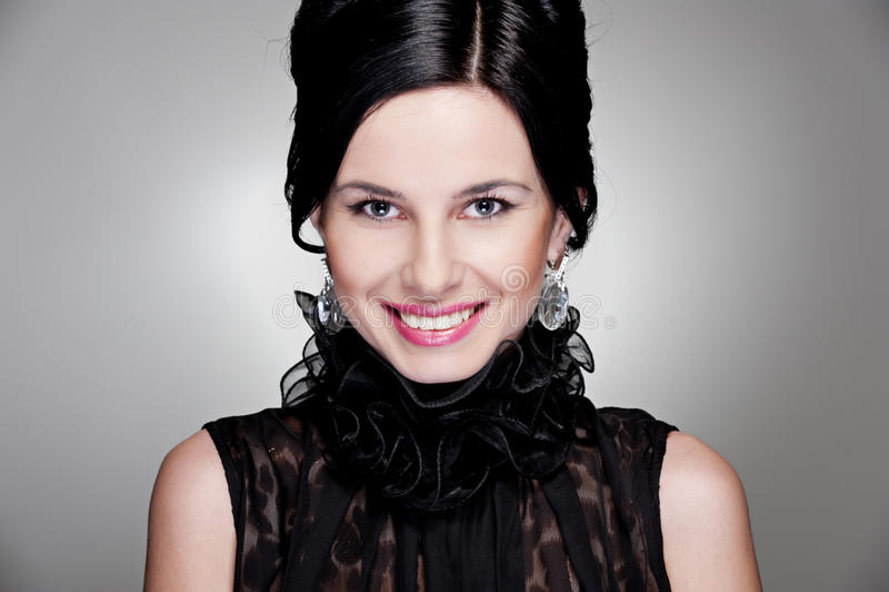 Mulher maravilhosa do smiley fotografia de stock