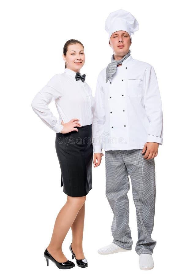 Mulher masculina do cozinheiro chefe e do garçom do comprimento completo no branco imagens de stock royalty free