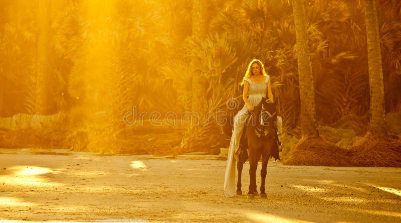 Mulher medieval a cavalo foto de stock royalty free