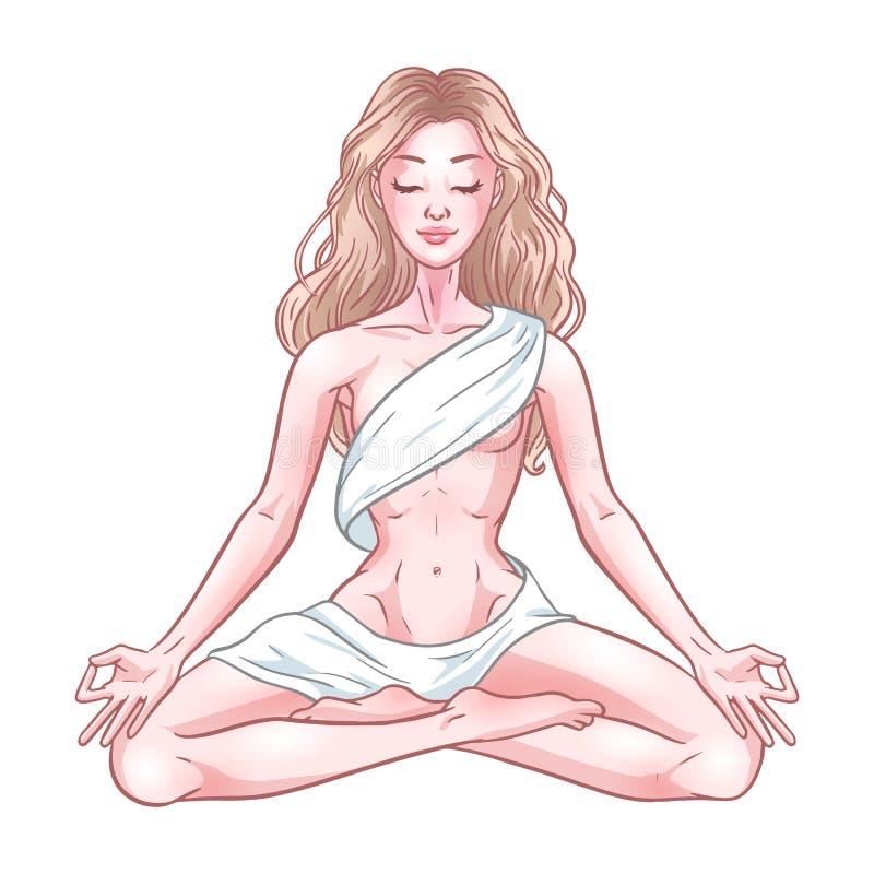 Mulher meditando nova do iogue na pose dos lótus isolada no fundo branco Ilustra??o do vetor ilustração stock