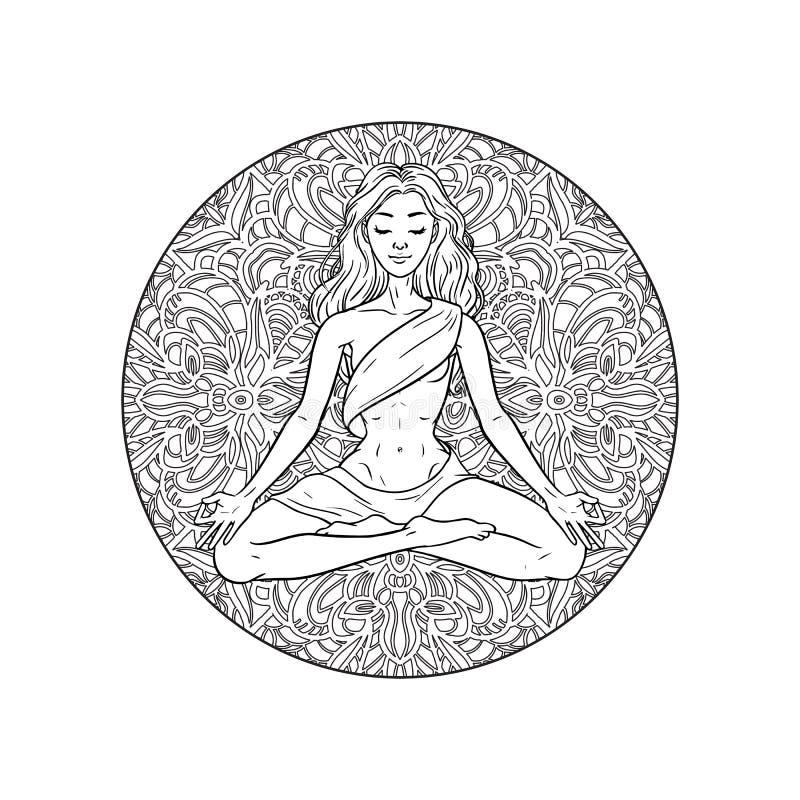 Mulher meditando nova do iogue na pose dos lótus no fundo da mandala Ilustra??o do vetor ilustração do vetor