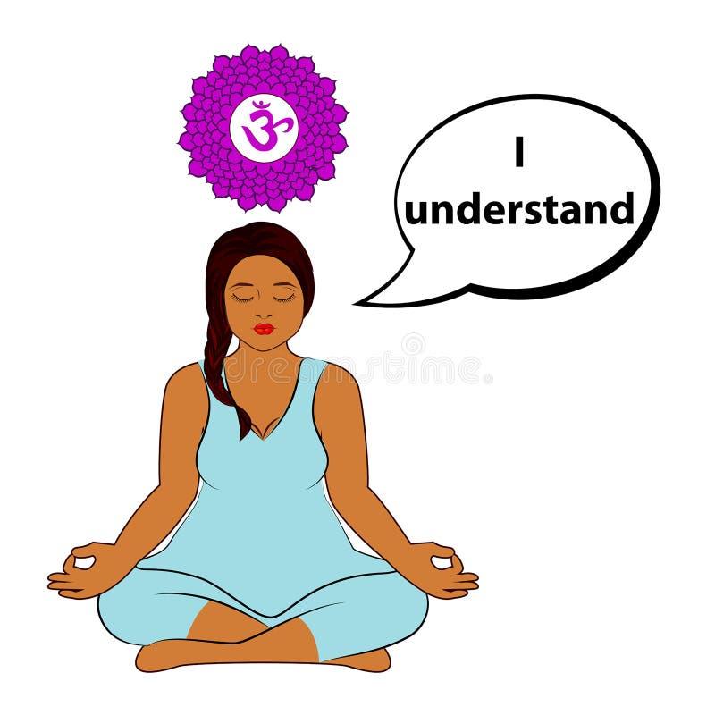 Mulher Meditating Eu compreendo - a afirmação para o chakra Sahasrara ilustração stock