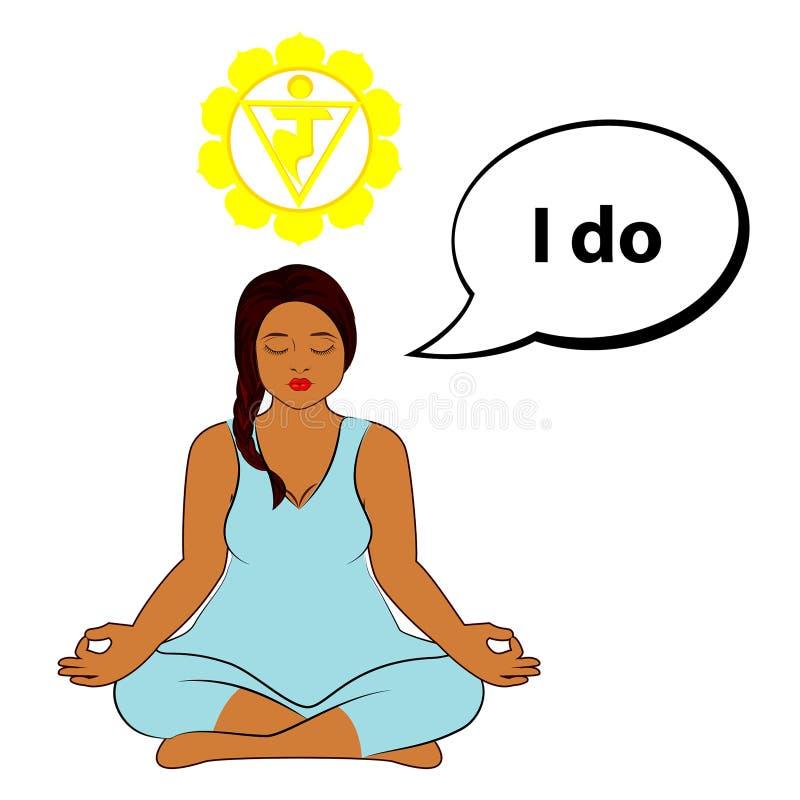 Mulher Meditating Eu faço - afirmação para o chakra Manipura ilustração do vetor