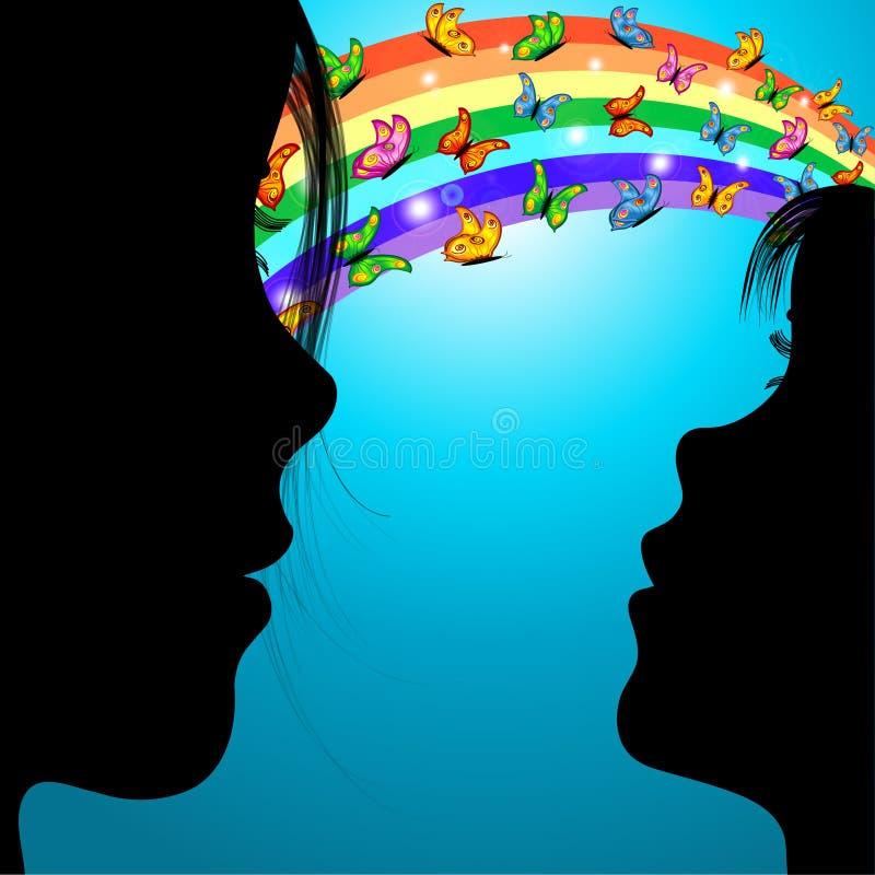 Mulher, menina & borboletas sobre o arco-íris ilustração do vetor