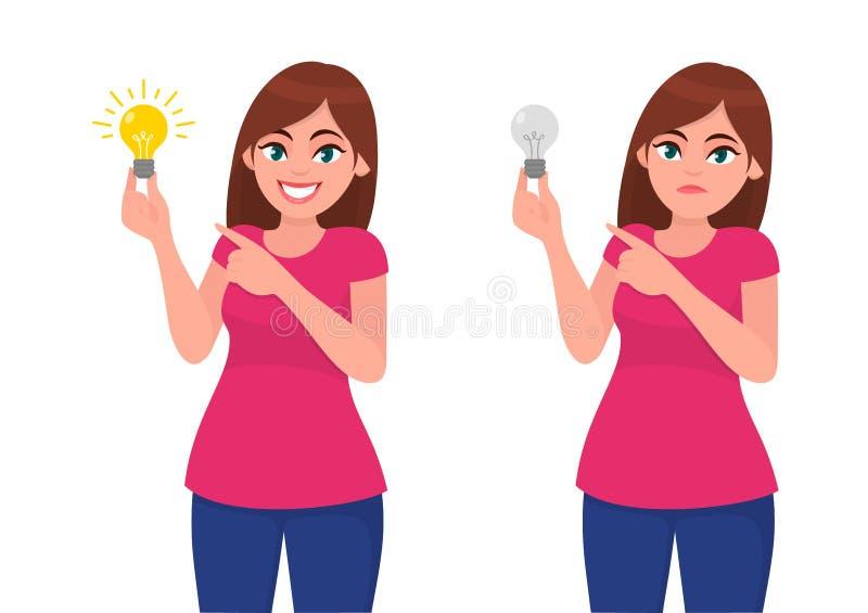 Mulher/menina felizes que guarda o bulbo brilhante e que aponta o indicador Mulher/menina infelizes que guarda o bulbo maçante e  ilustração do vetor