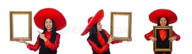 A mulher mexicana com moldura para retrato no branco imagens de stock