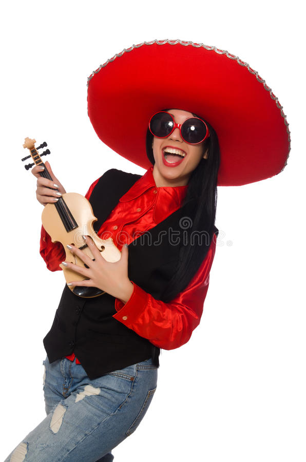A mulher mexicana com o violino isolado no branco foto de stock royalty free