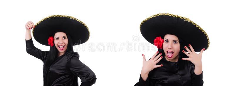 Mulher mexicana isolada no fundo branco imagens de stock royalty free