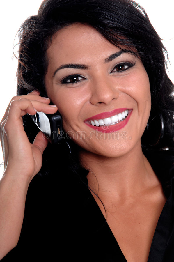 Mulher mexicana no telefone de pilha imagens de stock