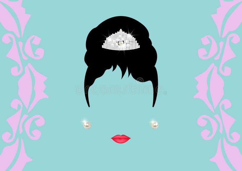 Mulher minimalista Audrey do ² do retrà do retrato com as joias e os brincos brilhantes bonitos da pérola, estilo retro do pen ilustração royalty free