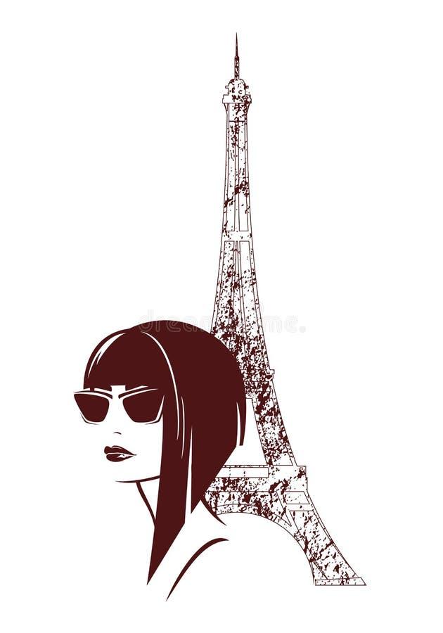 Mulher moderna do estilo no retrato da forma do vetor de Paris ilustração do vetor