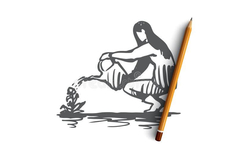 Mulher, molhando, flor, planta, conceito de jardinagem Vetor isolado tirado mão ilustração do vetor