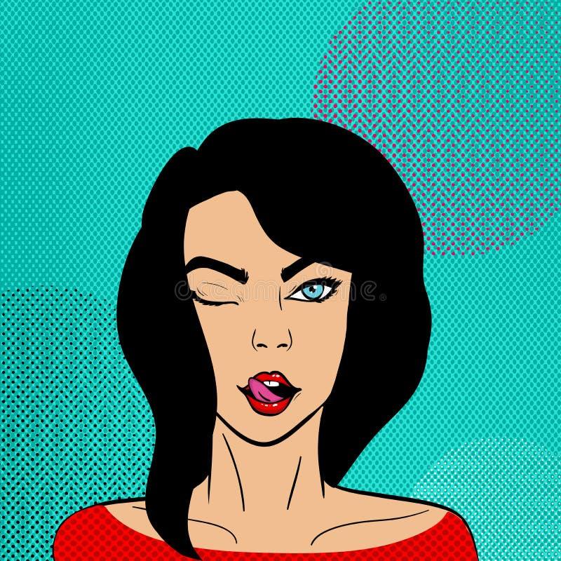 Mulher moreno bonita no estilo do pop art ilustração stock