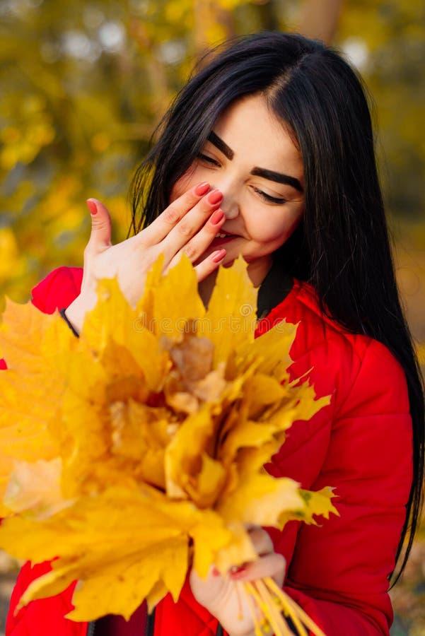 Mulher moreno bonita no sorriso da folha do outono fotos de stock