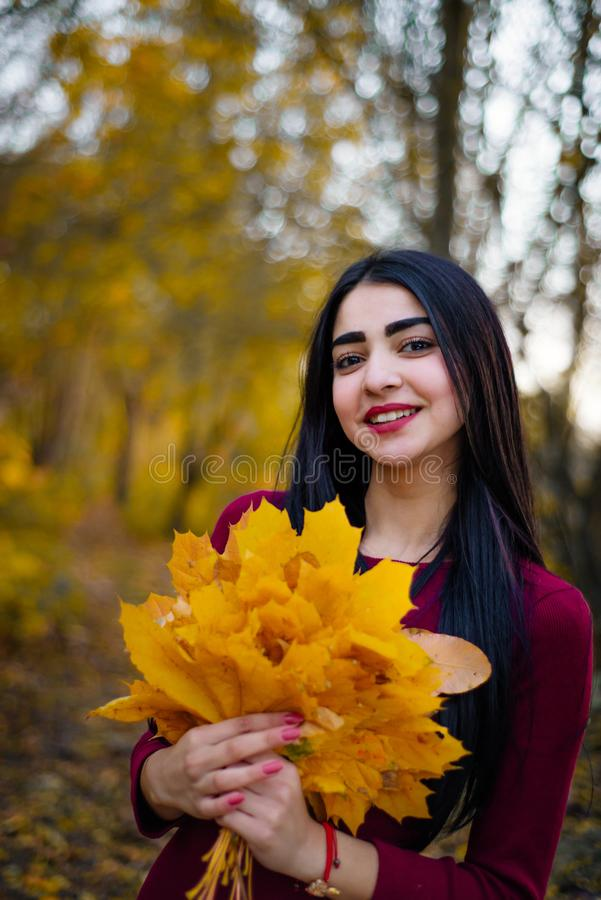 Mulher moreno bonita no sorriso da folha do outono imagens de stock