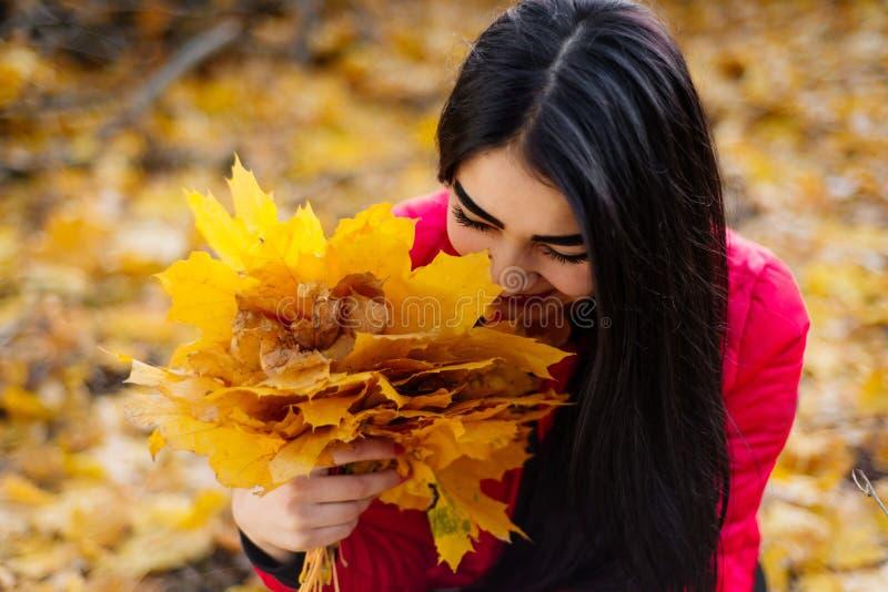 Mulher moreno bonita no sorriso da folha do outono imagem de stock royalty free