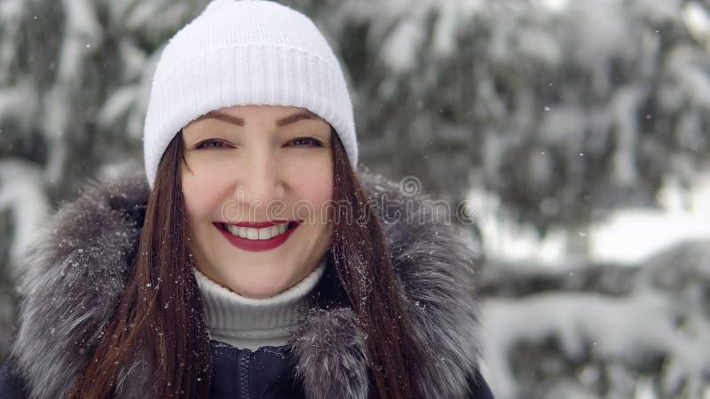 Mulher moreno bonita que sorri em uma floresta do abeto foto de stock