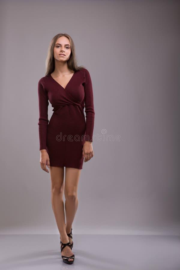 Mulher moreno bonita vestido dreesed de Borgonha imagem de stock royalty free