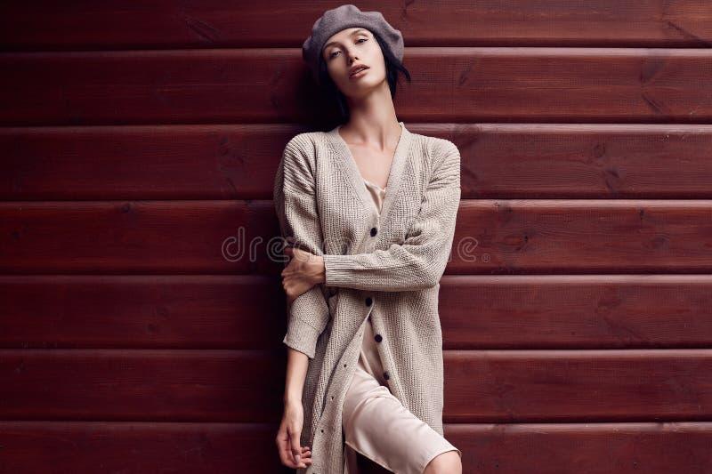 Mulher moreno lindo no vestido clássico da forma imagens de stock