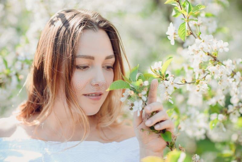 Mulher moreno nova bonita que está perto da árvore de maçã fotografia de stock