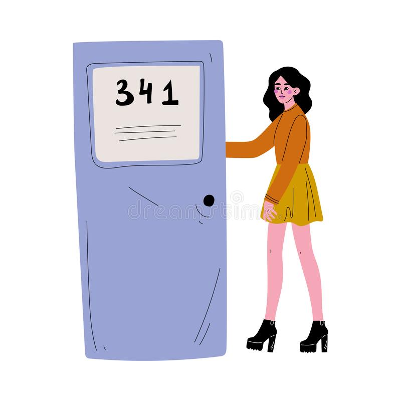 Mulher moreno nova na roupa ocasional que abre a porta e que vem na ilustração do vetor ilustração royalty free