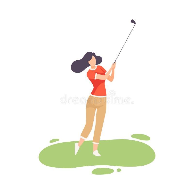 Mulher moreno nova que joga o golfe, atleta fêmea Golfer Training com Golf Club no curso com a grama verde, exterior ilustração do vetor