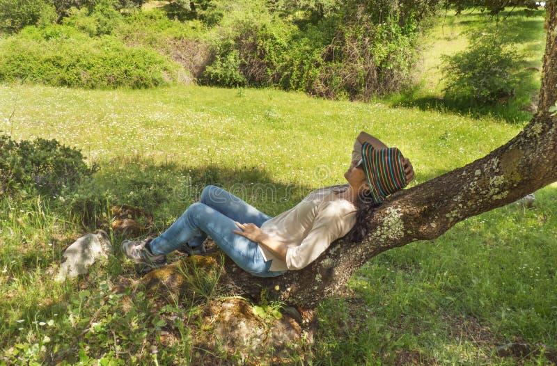 Mulher moreno que senta-se em uma árvore no campo fotografia de stock royalty free