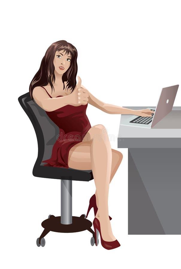 A mulher moreno trabalha em uma mesa ilustração stock