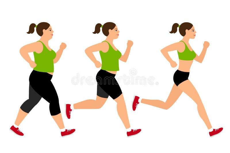 Mulher movimentando-se da perda de peso ilustração do vetor