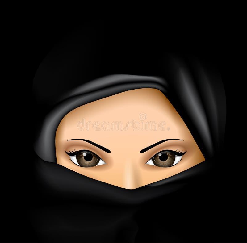 Mulher muçulmana árabe no vestido preto ilustração do vetor