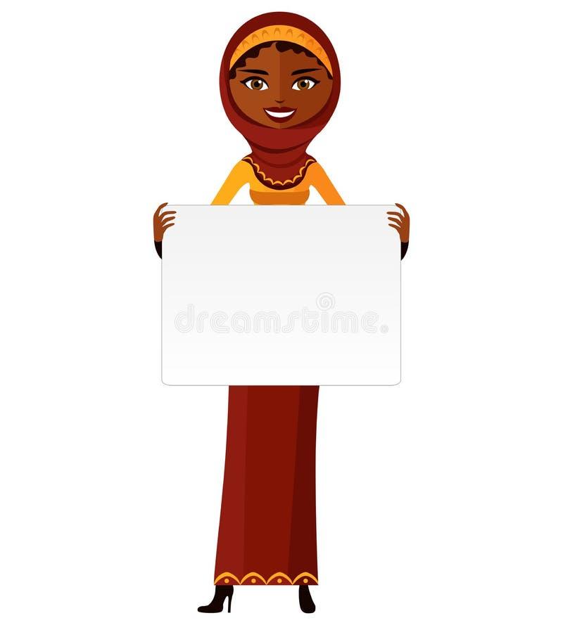 Mulher muçulmana árabe que está mantendo o sinal vazio isolado no branco ilustração royalty free