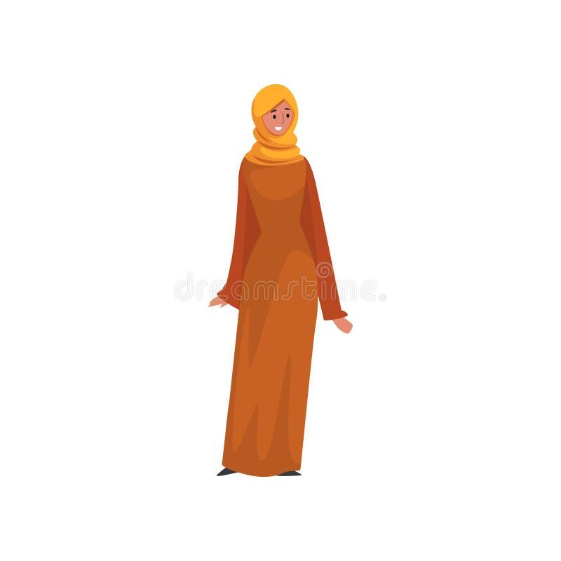 Mulher muçulmana bonita no vestido alaranjado e Hijab, menina árabe no vetor tradicional da ilustração do vetor da roupa ilustração do vetor