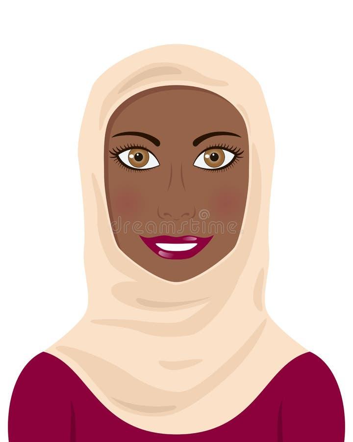 Mulher muçulmana do Afro que veste um Hijab ilustração royalty free
