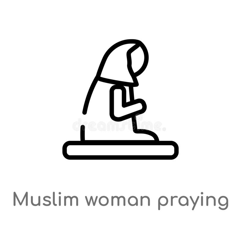 mulher muçulmana do esboço que reza o ícone do vetor linha simples preta isolada ilustração do elemento do conceito religion-2 Ve ilustração do vetor