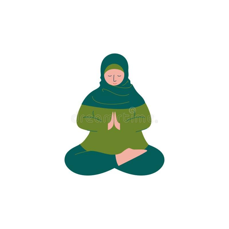 Mulher muçulmana em Hijab que senta-se com pés cruzados e que reza, caráter árabe moderno da menina no vetor tradicional da roupa ilustração stock