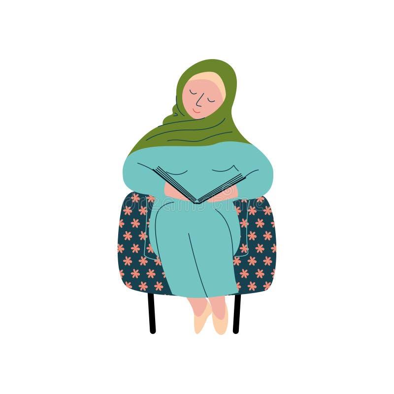 Mulher muçulmana em Hijab que senta-se na poltrona e no livro de leitura, caráter árabe fêmea moderno da menina na roupa tradicio ilustração royalty free