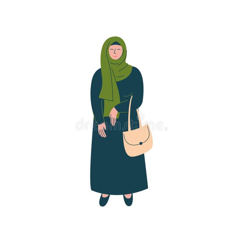 Mulher muçulmana na posição de Hijab com saco, caráter árabe moderno da menina na ilustração tradicional do vetor da roupa ilustração royalty free