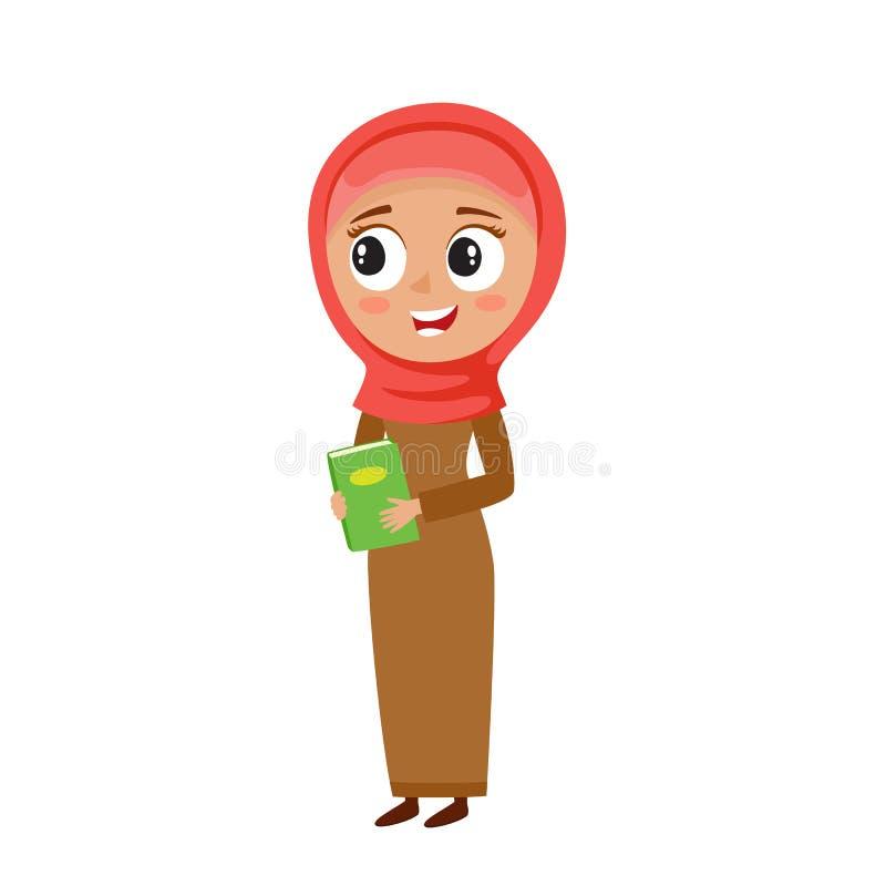 Mulher muçulmana no hijab vermelho no estilo dos desenhos animados isolado no branco ilustração do vetor