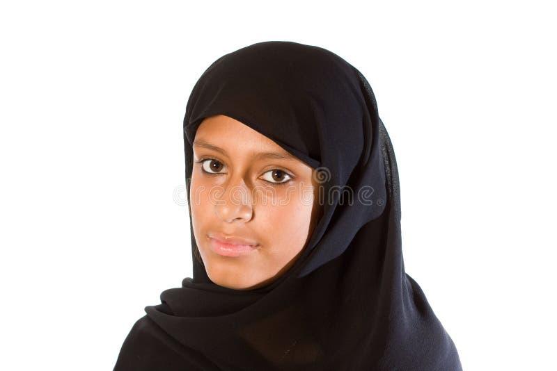 Mulher muçulmana nova (headshot) foto de stock