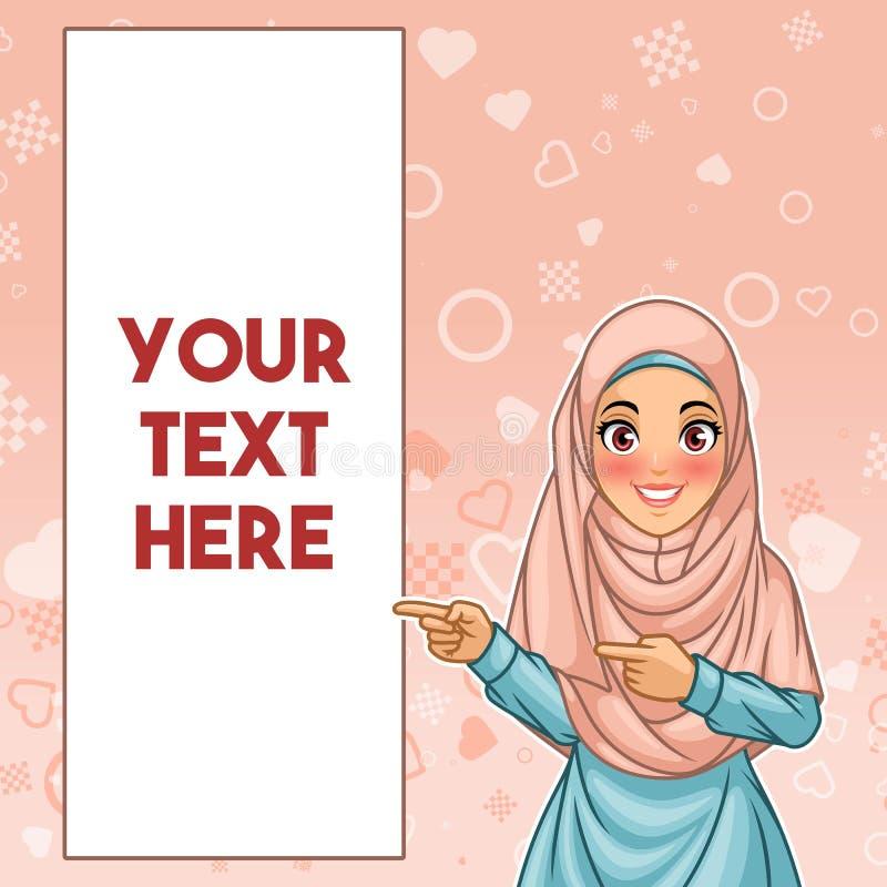 Mulher muçulmana que aponta o dedo ao lado direito no espaço da cópia ilustração royalty free