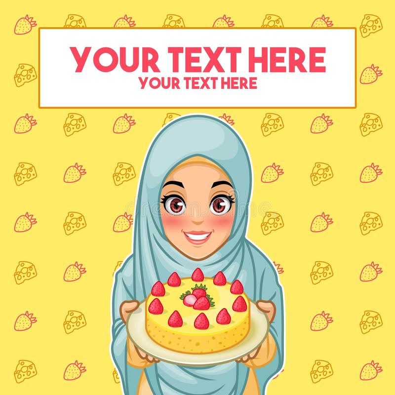 Mulher muçulmana que guarda uma placa da sobremesa
