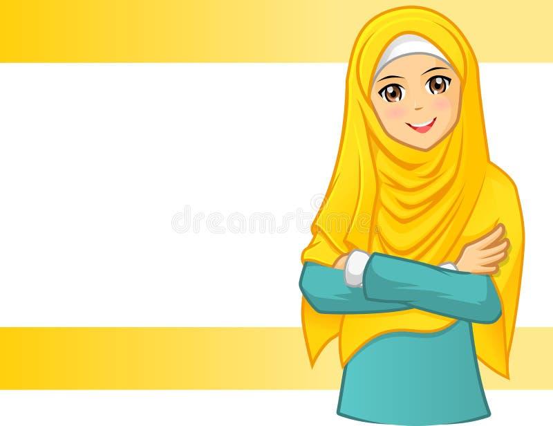 Mulher muçulmana que veste o véu amarelo com braços dobrados ilustração do vetor