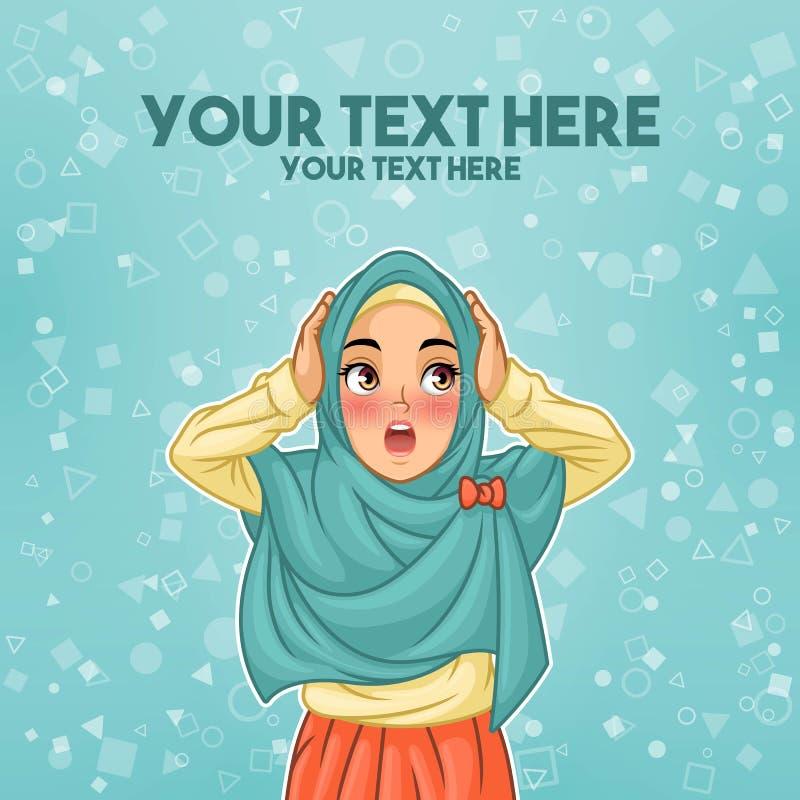 Mulher muçulmana surpreendida com guardar sua cabeça ilustração royalty free