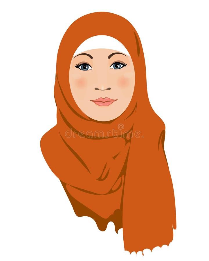 Mulher mu?ulmana Caráter árabe muçulmano das mulheres no hijab Árabe islâmico do saudita étnico ilustração do vetor