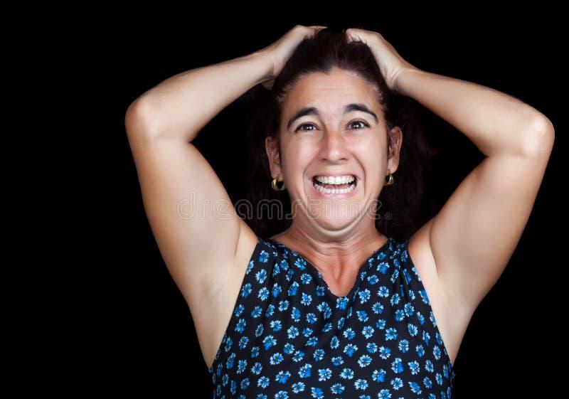 Mulher muito irritada e deprimida que grita fotografia de stock