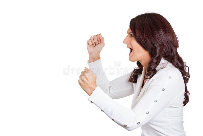 Mulher muito irritada que grita foto de stock