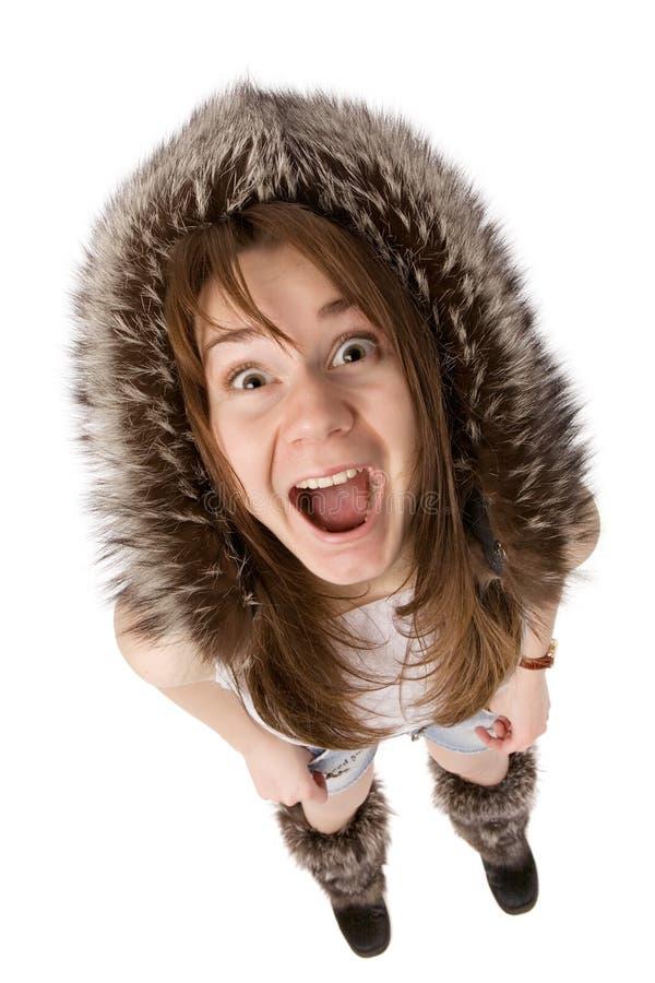 Mulher muito surpreendida no chapéu forrado a pele fotografia de stock royalty free
