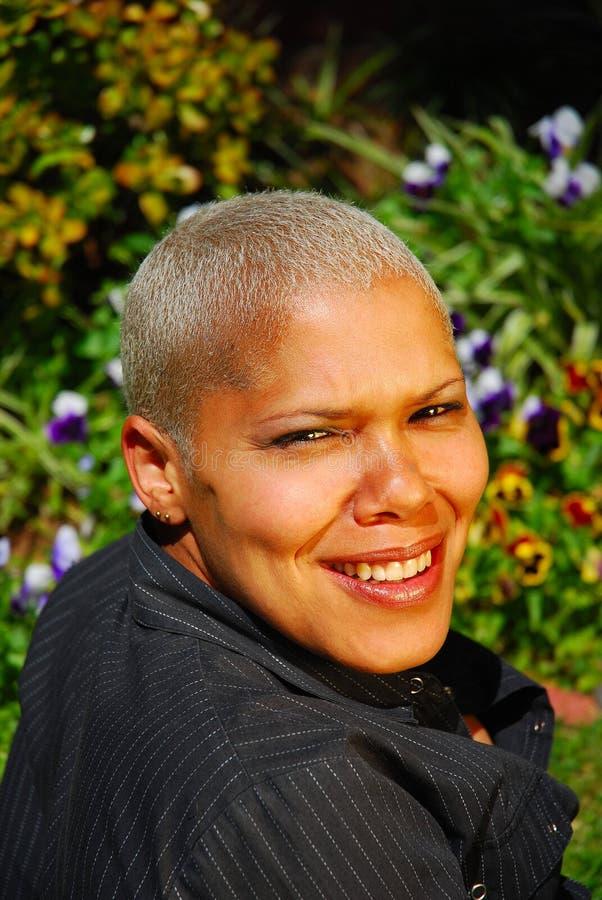 Mulher multiracial loura fotografia de stock