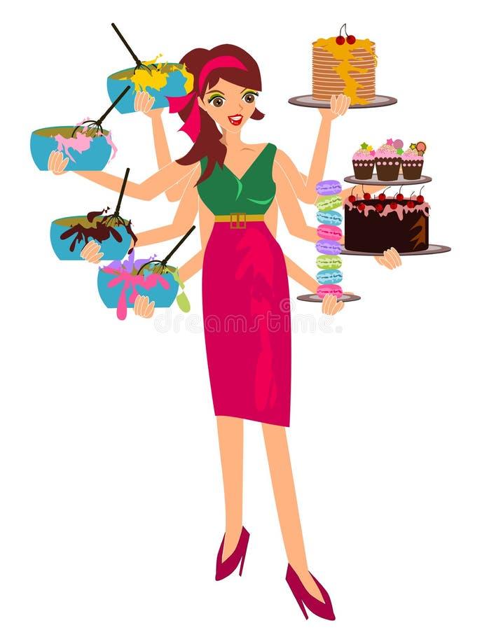 Mulher a multitarefas ilustração stock