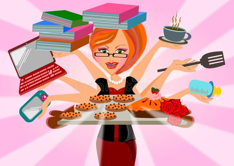 Mulher a multitarefas ilustração royalty free